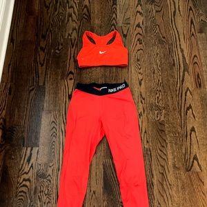 Red Nike workout set